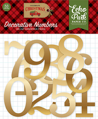 Echo Park Decorative Numbers - Celebrate Christmas - Gold Foil