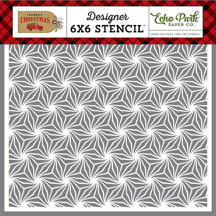 Echo Park 6x6 Stencil - Celebrate Christmas - Poinsettia Pattern