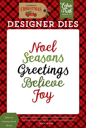 Echo Park Designer Dies - Celebrate Christmas - Believe In Christmas Word Die Set