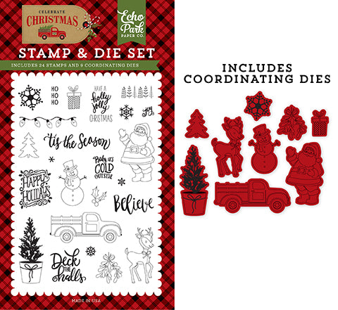Echo Park Stamp and Die Set - Celebrate Christmas - Deliver Christmas