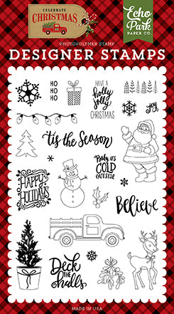 Echo Park Clear Stamp Set - Celebrate Christmas - Deliver Christmas