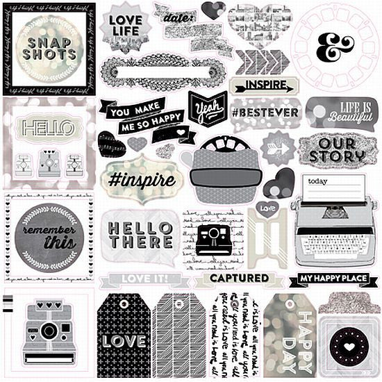 Echo Park 12x12 Cardstock Stickers - Capture Life B/W - Elements