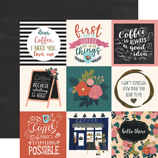 Echo Park Cut-Outs - Coffee - 4x4 Horizontal Journaling Cards