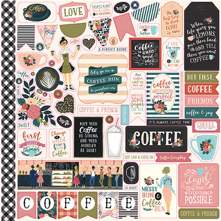 Echo Park 12x12 Cardstock Stickers - Coffee - Elements