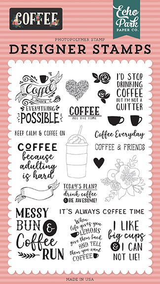 Echo Park Clear Stamp Set - Coffee - Coffee Time