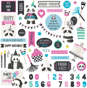 Photo Play 12x12 Cardstock Stickers - Cake Panda Party - Elements