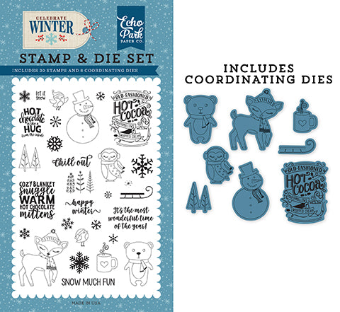 Echo Park Stamp and Die Set - Celebrate Winter - Happy Winter