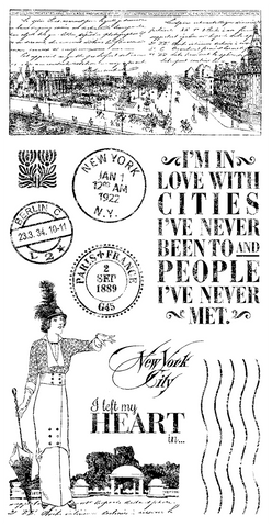 Graphic 45 Cling Mounted Rubber Stamp Set -Cityscapes (A)