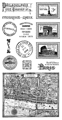 Graphic 45 Cling Mounted Rubber Stamp Set -Cityscapes (B)