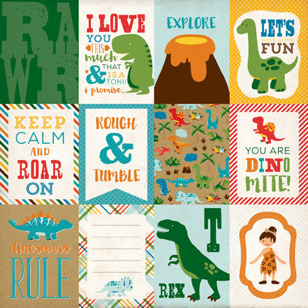 Echo Park Cut-Outs - Dino Friends - 3x4 Journaling Cards