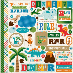 Echo Park 12x12 Cardstock Stickers - Dino Friends - Elements
