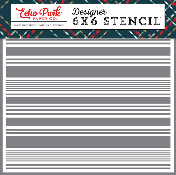 Echo Park 6x6 Stencil - Deck the Halls - Festive Stripe