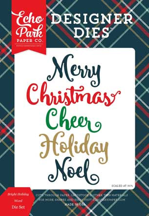 Echo Park Designer Dies - Deck the Halls - Bright Holiday Word Set