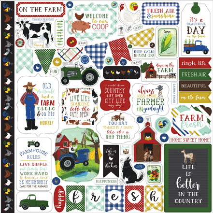 Echo Park 12x12 Cardstock Stickers - Down On the Farm - Elements