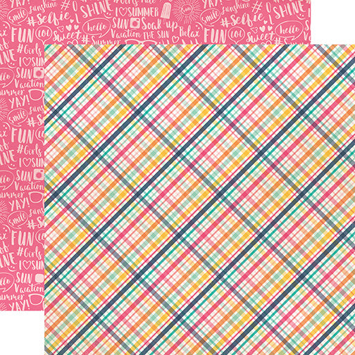 Echo Park Papers - Summer Dreams - Summer Lovin' Plaid - 2 Sheets