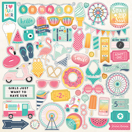 Echo Park 12x12 Cardstock Stickers - Summer Dreams - Elements