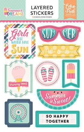 Echo Park Layered Stickers - Summer Dreams