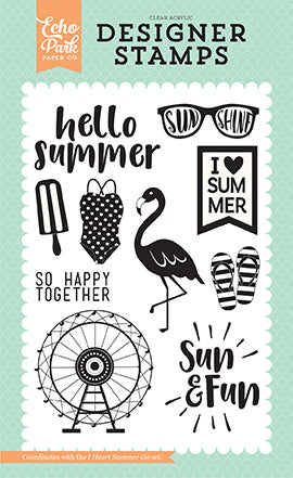Echo Park Clear Stamp Set - Summer Dreams - I Heart Summer