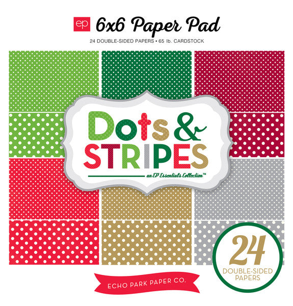 Echo Park 6x6 Pad - Dots & Stripes - Christmas
