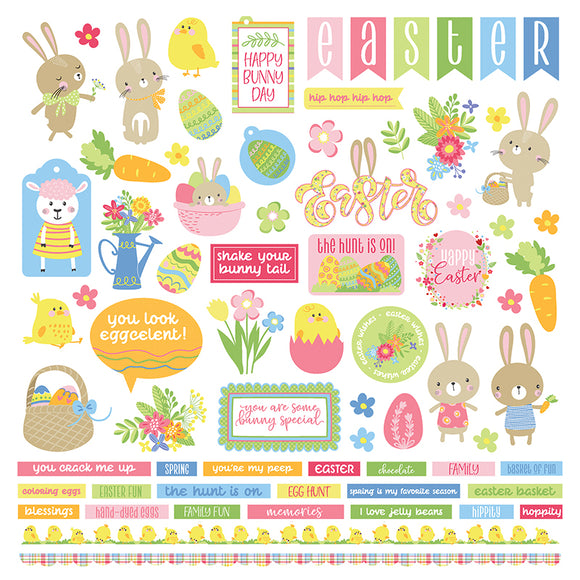 Photo Play 12x12 Cardstock Stickers - Easter Wishes - Elements