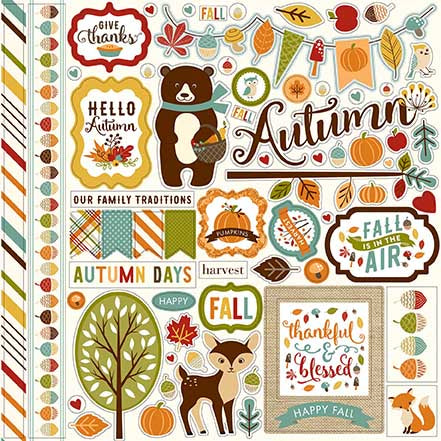 Echo Park 12x12 Cardstock Stickers - Fall is in the Air - Elements
