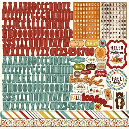 Echo Park 12x12 Cardstock Stickers - Fall in in the Air - Alpha