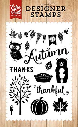 Echo Park Clear Stamp Set - Fall is in the Air - Feeling Thankful