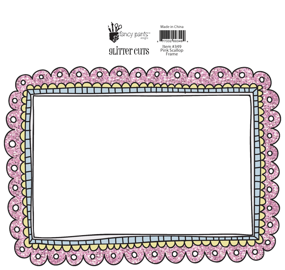 Fancy Pants Glitter Cut - Pink Scallop Girl Frame