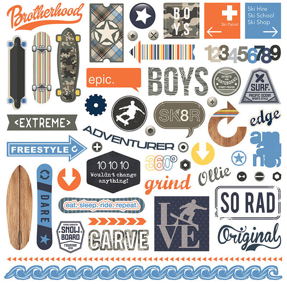 Photo Play 12x12 Cardstock Stickers - Freestyle - Elements
