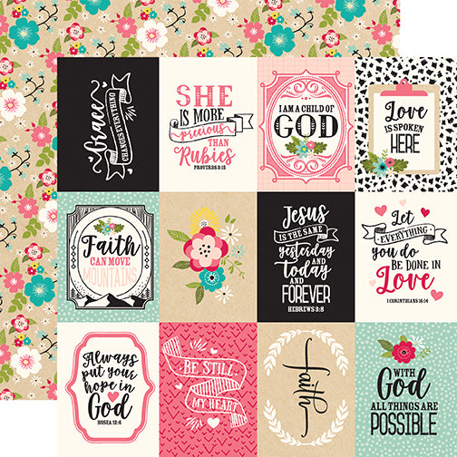 Echo Park Cut-Outs - Forward With Faith - 3x4 Journaling Cards