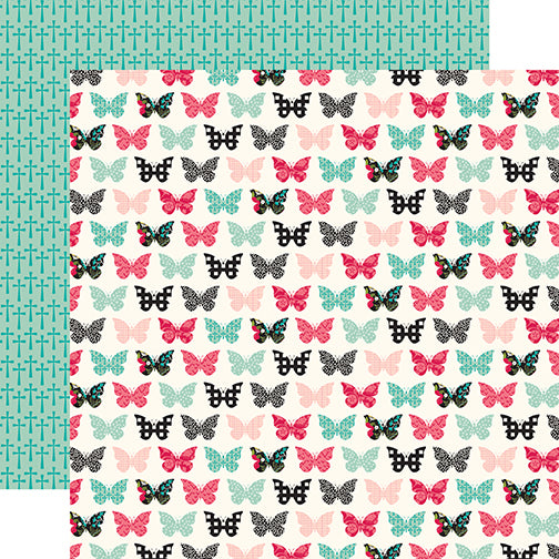 Echo Park Papers - Forward With Faith - Blessed Butterflies - 2 Sheets