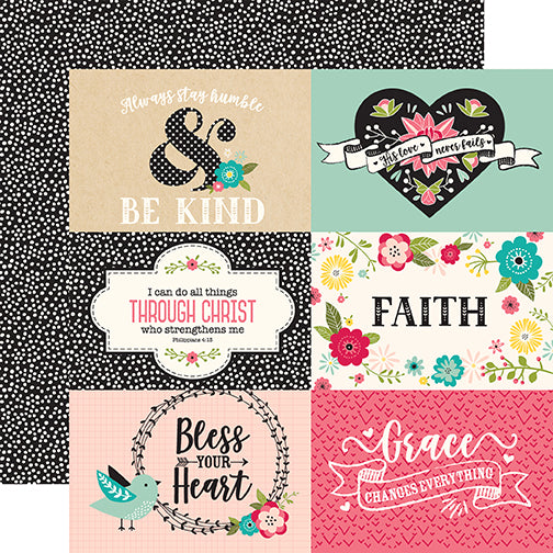 Echo Park Cut-Outs - Forward With Faith - 6x4 Horizontal Journaling Cards