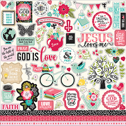 Echo Park 12x12 Cardstock Stickers - Forward With Faith - Elements
