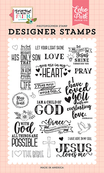 Echo Park Clear Stamp Set - Forward In Faith - Jesus Loves Me