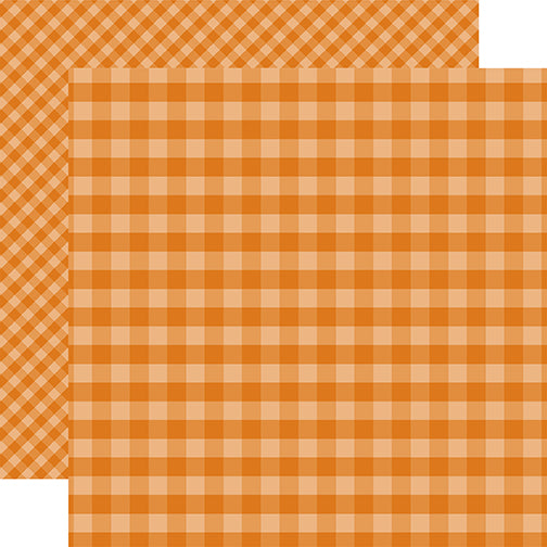 Echo Park Papers - Dots & Stripes - Orange Gingham - 2 Sheets