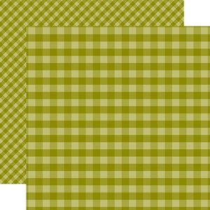Echo Park Papers - Dots & Stripes - Green Gingham - 2 Sheets