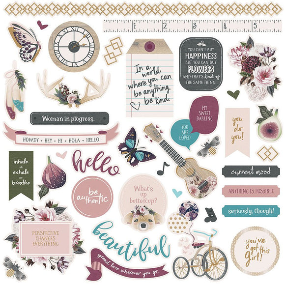 Photo Play 12x12 Cardstock Stickers - Gypsy Rose - Elements
