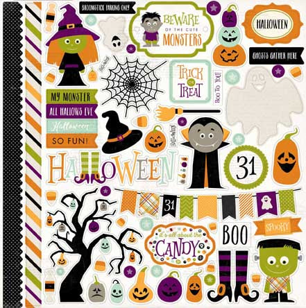 Echo Park 12x12 Cardstock Stickers - Halloween - Elements