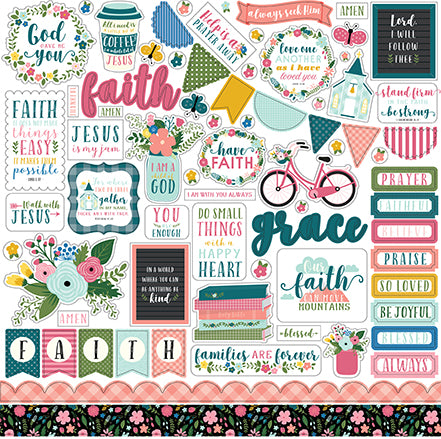 Echo Park 12x12 Cardstock Stickers - Have Faith - Elements