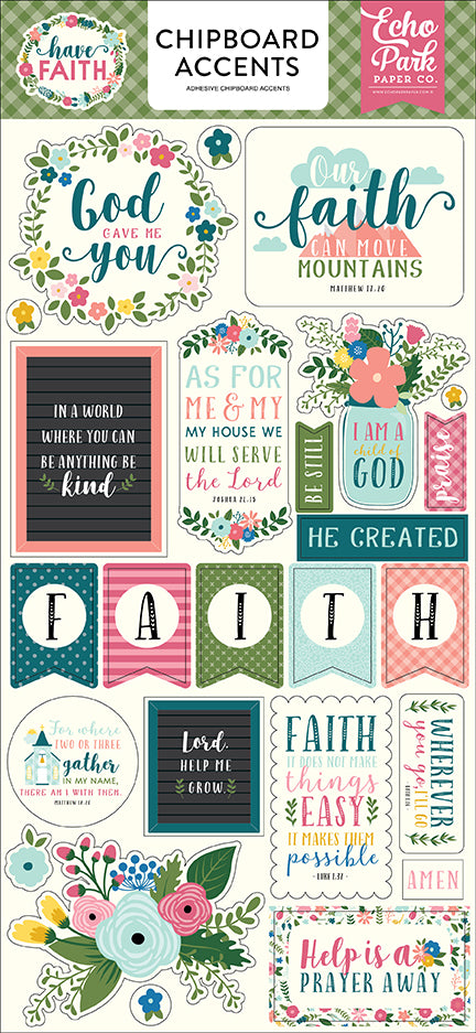 Echo Park Chipboard - Have Faith - Accents