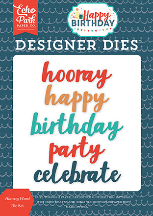Echo Park Designer Dies - Happy Birthday - Boy - Hooray Word Set