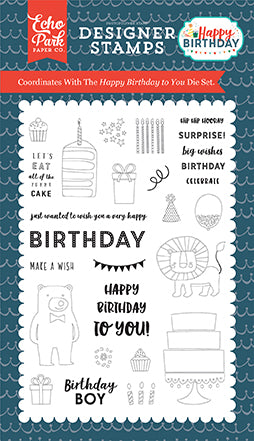 Echo Park Stamp and Die Set - Happy Birthday - Boy - Happy Birthday To You