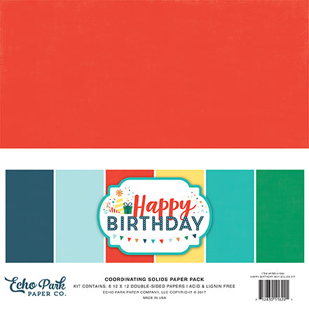 Echo Park Solids Paper Pack - Happy Birthday - Boy Pack