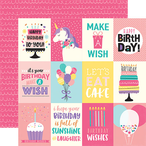 Echo Park Cut-Outs - Happy Birthday - Girl - 3x4 Journaling Cards