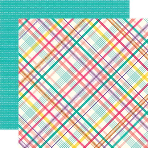 Echo Park Papers - Happy Birthday Girl - Party Plaid - 2 Sheets