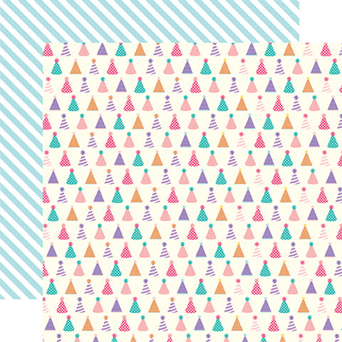 Echo Park Papers - Happy Birthday Girl - Party Hats - 2 Sheets