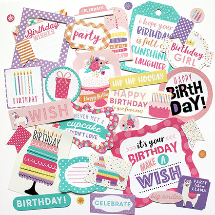 Echo Park Ephemera Die-Cuts - Happy Birthday - Girl