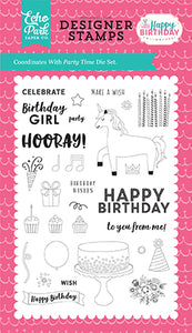 Echo Park Clear Stamp Set - Happy Birthday - Girl - Time