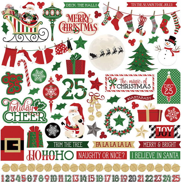 Photo Play 12x12 Cardstock Stickers - Here Comes Santa - Elements