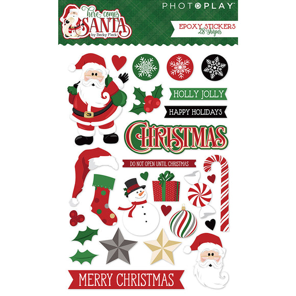 Photo Play Epoxy Stickers - Here Comes Santa